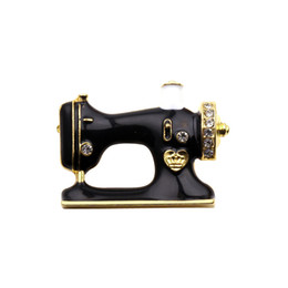 Wholesale Wholesale For Sewing Machine - Women Girls Sewing Machine Brooch Black Enamel Brooches Jewelry Hijab Pin for Collar Suit Scarf Decoration Accessories 2017 New