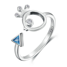 Wholesale Birds Rings - 100% 925 Sterling Silver Adorable Bird Fish & Light Blue Crystal Finger Rings for Women Sterling Silver Jewelry SCR079