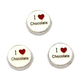 Wholesale Chocolate Living Locket - floating charm I love Chocolate , floating charms for living locket, 20pcs lot, free shipping
