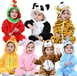 Wholesale baby girl tiger - INS Baby Animal Romper Winter Kids Tiger Duck Hooded Flanel Jumpsuits Girl Rompers Long Sleeve Hooded Pajamas Cosplay Romper KKA3470