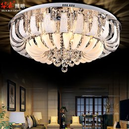 Wholesale Modern Minimalist Chandelier Free Shipping - Modern Round crystal chandeliers Minimalist ceiling lamp E14 led glass chandelier hang lights living room bedroom decoration free shipping