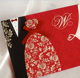 Wholesale Tuxedo Card Invitations - Wholesale-Traditional Tuxedo & Dress Bride & Groom Design Wedding Invitations Cards Customizing and Printing in Red 50pcs Free