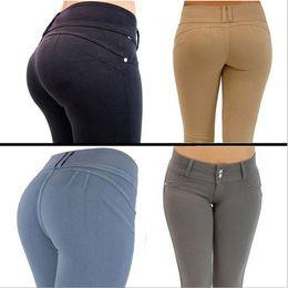 2016 nuevas mujeres de moda elásticos de cintura alta pies pantalones Ladies Casual más tamaño tejida cremallera mosca botón lápiz pantalones pies pantalones desde fabricantes