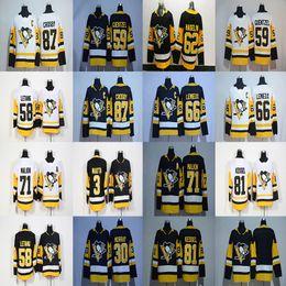 Wholesale Blue Penguin - 62 Carl Hagelin Jersey 2017-2018 Season 3 Olli Maatta 58 Kris Letang 59 Jake Guentzel Pittsburgh Penguins Hockey Jerseys Cheap