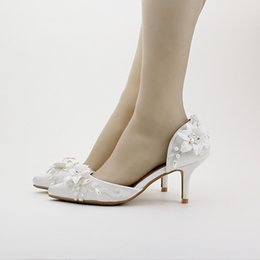 Wholesale Sexy White Satin Heels - 2016 Fashion Design Women Shoes Pointed Toe Party Club High Heels Bridal Wedding Party Pumps White Satin Sexy Women Shoes