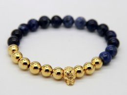 Wholesale Skull 18k - 2015 Hot Sale New Design Jewelry Wholesale Top Quality 8mm Blue-Vein Stone Beads Real Gold-plated Bronze Yoga Skull Bracelets