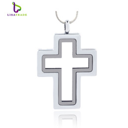 Wholesale Glass Cross Pendants For Necklaces - 2016 Hot !! Silver Cross magnetic glass floating charm locket Zinc Alloy 40*30mm (chains included for free)LSFL015-1