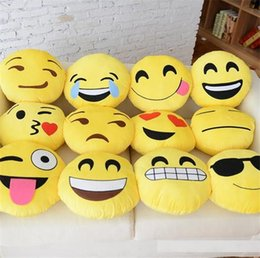Wholesale Fabric Toys For Babies - 40 Styles Soft Emoji Smiley Cushions Pillows Cartoon Facial QQ Emotions Pillow Yellow Round Cushion Stuffed Plush Toy Gift For Baby Kids