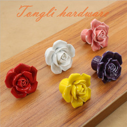 Wholesale Vintage Pink Kitchen - colorful(red white pink yellow purple) vintage rose ceramic door knob handle pull kitchen cabinet drawer furniture flower single handle