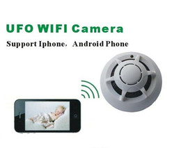 Macchina fotografica di nanny senza fili del pinhole online-Telecamera rilevatore di fumo senza fili WiFi P2P cameretta UFO tipo rilevatore di fumo a distanza di sicurezza domestica