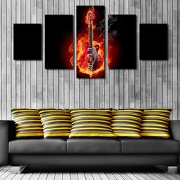 Wholesale Passion Paintings - 5 Piece Passion Fire Guitar Soul Play Picture Unframed Oil Canvas Painting Giclee Print Artwork Modern Home Wall Decoration