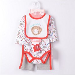 Wholesale Cheapest Clothes - Baseball Baby Boys Clothes Sets 2015 New Arrival Brand Payifang Bibs Sock Bodysuit Trouser Suit Cheapest