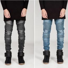 Wholesale Embroidery Jeans Pants - New Distressed Jeans Men Hip-Hop Biker Jeans Striped Cotton Denim Trousers Skinny Men Jean Pants Casual Pant YYF1111