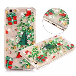 noël iphone santa Promotion Noël Père Noël Glitter Étoile Liquide Cas Dur PC Brillant Bling Style Pour IPhone X 8 7 Plus 6S S8 S7 Bord
