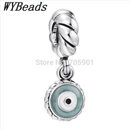 Wholesale Sterling Silver Eye Caps - Wholesale-New! 925 Sterling Silver Charm Green Eye Pendant European Charms Silver Beads for Bracelet DIY Jewelry X217