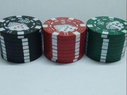 """Wholesale Popular Poker - popular Zinc alloy Poker Chip Herb Grinder 1.75"""" 3pc Grinder 3 Colors 3-layer Poker Herb Smoke Cigarette Grinder"""