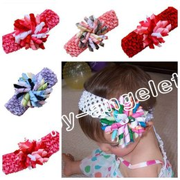 Wholesale crochet clips - 12pcs Children's waffle Crochet headband bows with 3.5 inch korker bow clip corker Hair clip hair barrettes girl korker hair bands PD011