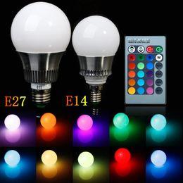 Wholesale 5w E27 Color - 5W 10W E27 E14 LED Bulbs 16 RGB Color Changing LED Light AC85-265V 900 Lumen Globe Spotlight with 24 Key Remote Control Home Lighting