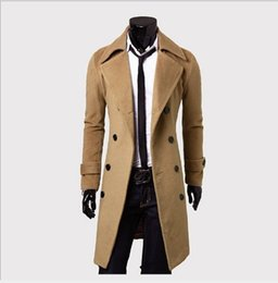 Wholesale Mens Gray Trench Coat - 2017 New Arrival Autumn Jacket Trench Coat Men Brand Clothing Fashion Mens Long Coat Top Quality Male Overcoat M-3XL
