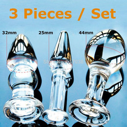 Wholesale Cheap Male Butt Plugs - w1022 Cheap 3 pcs Set Pyrex Glass Anal Butt Plugs Beads Crystal Dildo Adult Sex toys female male masturbation products for women men