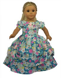 Wholesale Light Cloth Clothing - 18 inch Light Bule Color American girl doll Western-style Dress Handmade Flower Pattern American Girl Doll Clothes