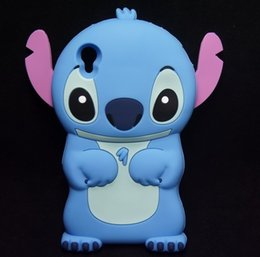 Wholesale Star Xperia - 3D Cute Cartoon star Soft Silicone blue stitch For Sony Xperia M4 AQUA Z4 with moveable pink ear