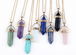 Wholesale Women Statement Necklaces - Gold Chain Necklace Women Men Jewellrey Stainless Steel Jewelry Natural Stone Pendants Statement Rose Quartz Healing Crystals Necklaces