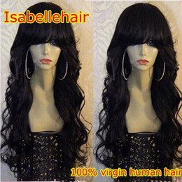 150 Density Human Hair Lace Wig Full Bangs African American Loose Wave Full  Lace Brazilian Virgin Wigs Black Women Baby Hair Bleached Knots african  american ... 9f80559d0d0a