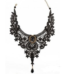 Wholesale Victorian Lace Collar - Black Lace& Beads Choker Pendant Wedding Party Short Victorian Steampunk Style Vintage Gothic Collar Necklace Gift [JN06502*3]