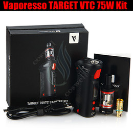 Wholesale Vaporesso Target Vtc 75w - Top Vaporesso TARGET VTC 75W Mod Starter Kit temperature control Vape pen Ceramic cCELL Coil RDA 18650 Battery e cigarettes Vapor Mods DHL