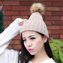 Wholesale Ladies Mink Hats - fashion lady skullies beanies knit winter hat cap with real mink fur pompon balls Colorful Snow Caps Wool Knitted Beanie Hat 11 color