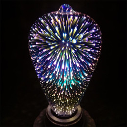 Wholesale fantasy bedroom - Magic E27 3D Silver Plated Glass LED Colourful Dream Fantasy Fireworks Edison Star Retro Filament Light Bulb ST64 for Holiday Wedding Party