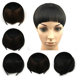 Wholesale Hair Pieces Bangs Extension - Heat Resistant Straight Synthetic Hair Bangs Wholesale-Woman Fashion Hoop Neat Bangs Hair Fringe Pieces Hairpieces Hair Extension
