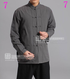 Wholesale Costumes China - China T'ang costume Cotton shadowboxing male   kung fu sports shirt #1-5