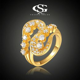 Wholesale Men S Cz Rings - 015 2015 nwe item G&S 18K Gold Plated AAA CZ Twisted Style Women's Ring New Jewelry,Super design men rings