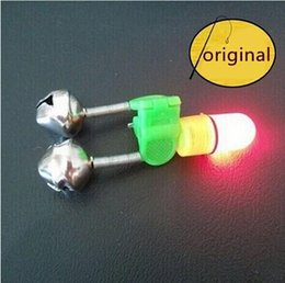 Wholesale Led Bite Indicator - 10 pcs lot Fish Bell Alarm Bite Indicator with White LED Luminous Light for Fishing Rod Fishing Tackle Accessory hight quality free shipping