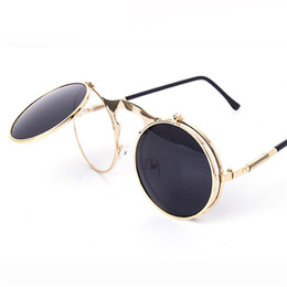 Wholesale Circle Lens Sunglasses - Vintage Round Flip Up Designer Steampunk Sunglasses Metal Oculos De Sol Women Coating Men Retro Circle Sun Glasses 12Pcs Lot Free Shipping