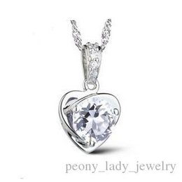 Wholesale 925 Swarovski - 925 silver items crystal jewelry swarovski elements pendant statement necklaces rose heart vintage wedding infinity fashion