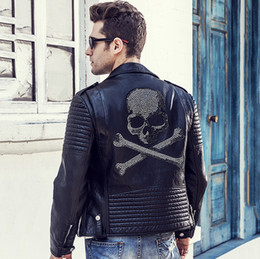 Wholesale Mens Leather Fashion Jackets - Wholesale- 2016 Winter Leather Jacket Men Turn-down Collar Jaqueta De Couro Masculina PU Mens Leather Jackets Skull Punk Veste Cuir Homme