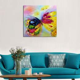 Wholesale Hand Butterfly Craft - Hand painted Modern Knife Pictures On Canvas The Colorful Butterfly Oil Painting For Room Decor Wall Painting Hang Craft