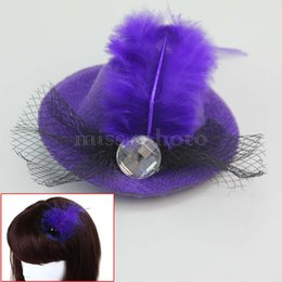 Wholesale Chic Lady - Wholesale-Chic Party Costume Purple Feather Hat Cap Headwear Hairpin Clip For Lady Girls