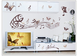 Wholesale Wall Stickers Music Notes - Free Shipping Butterfly music note Wall Art Vinyl Quote Removable Sticker decor decal DIY Kid home decor wall paper