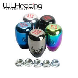 Wholesale Neo Silver - 5 Speed (M10*1.5) Racing Five Speed Car Shift Knobs SILVER,BLACK,BURNING,TITANIUM,NEO CHROME PQY-SKSK05