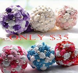 Wholesale Cream Bridal Flowers - ONLY $25 Bridal Wedding Bouquet 2017 Purple Red Cream Wedding Decoration Artificial Bridesmaid Flower Crystal Pearl Silk Rose arabic islamic