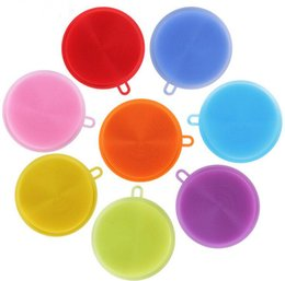 Wholesale Toilet Pot - Magic Silicone Dish Bowl Cleaning Brushes Scouring Pad Pot Pan Wash Brushes Cleaner Kitchen 8 colors DHL FEDEX FRee
