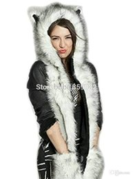 Wholesale Mitten Scarf - Wholesale-2015 Winter Husky Faux Fur Full Animal Hood Hoodie Hat 3-in-1 Mittens Gloves Scarf Spirit Paws Ears Christmas Gift