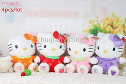 Wholesale Cartoon Stuffed Animals Cheap - DISCOUNT 4Pcs Lot Hello Kitty Plush Cartoon Toys 20CM Stuffed Animals Brinquedos Cheap Toys For Kids Or Girls Galentine Day Gift