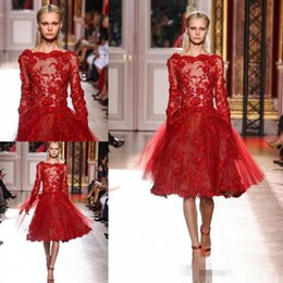 Wholesale Elie Saab Knee - Modern Elie Saab Designer Girls Prom Dress Bateau Knee Length Red Lace Appliques Sheer Long Sleeve Tulle A-line Pageant Evening Dresses Sexy