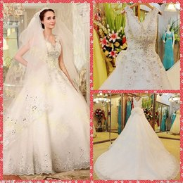 Wholesale Luxurious Bowknot Wedding Dress - 2015 Luxurious V-Neck Sleeveless Beaded Crystal A-Line Wedding Dresses Cathedral Train Bridal Gowns Bowknot Back Custom Vestidos De Novia