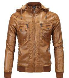 Wholesale leather jackets for men 5xl - Plus Velvet Men PU Jacekt Winter Leather Men Jacket Overcoat Hooded Warm Wild Zipper Yellow Style PU Leather Jacket For Men J161055